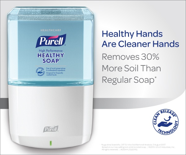 Purell Ad - Healthy Hands are Cleaner Hands. Remove 30% more soil that regular soap.